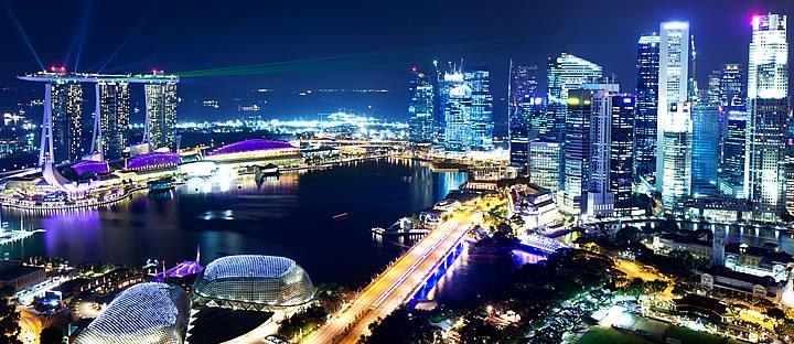 シンガポール中心部 スカイラインの写真